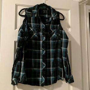 Torrid cold-shoulder plaid shirt